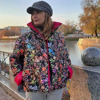Двусторонняя куртка Pink flowers Blue Cat Label.crafta.ua