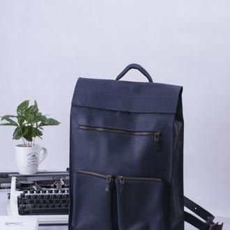 Кожаный синий рюкзак унисекс