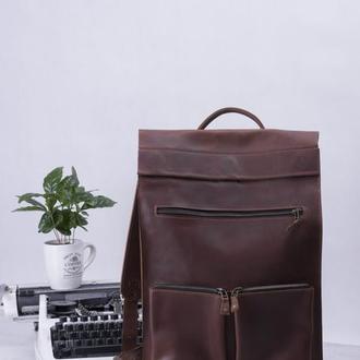 Стильный кожаный рюкзак унисекс