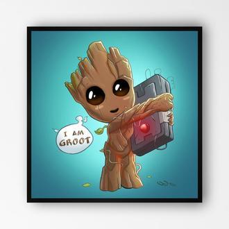 "Постер в раме на ПВХ 3 мм. ""I am Groot / Я есть Грут"" #1"