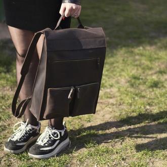 Кожаный коричневый рюкзак унисекс