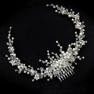 Свадебное украшение для волос, веточка в прическу,  украшение в прическу, веточка для прически
