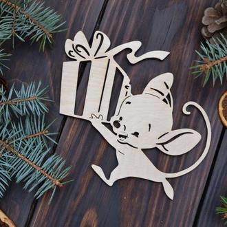 Деревянные Ёлочные игрушки мышки, ялинкові іграшки з дерева, дерев'яні іграшки на Новий рік