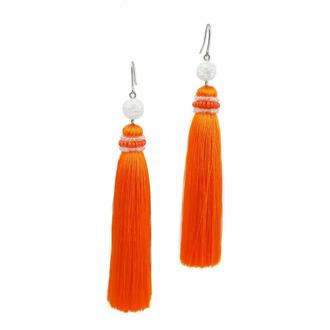 Оранжевые серьги-кисти с горным хрусталем