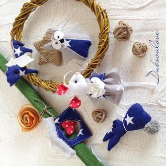 Набір новорічних ялинкових текстильних іграшок (5 іграшок в коробці). Синьо-сірий.
