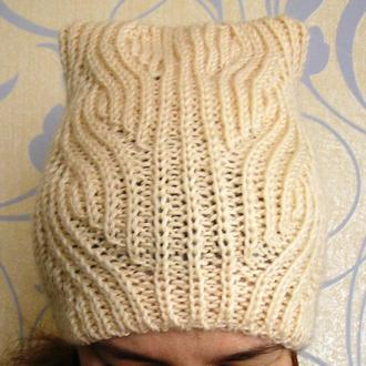 Модная шапка с ушками, 70% шерсть, размер 53-58
