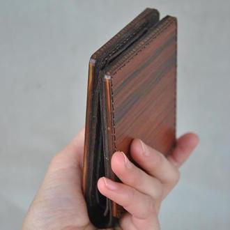 Кожаный кошелек с полісандром