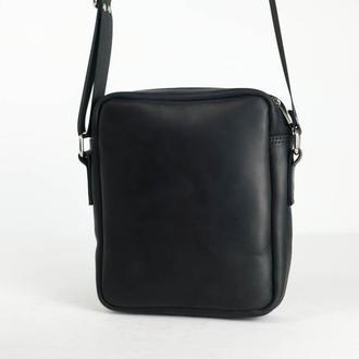 """Мужская сумка """"Модель №38"""" Винтажная кожа цвет Черный"""