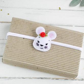 Повязка для малышки с мышкой, Новогодняя повязочка для новорожденной