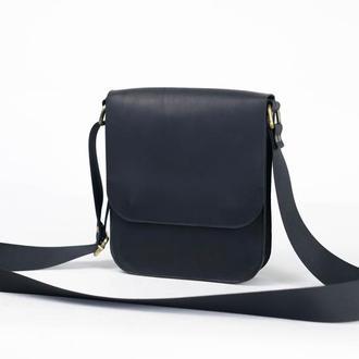 """Мужская сумка """"Модель №39"""" Винтажная кожа цвет Черный"""