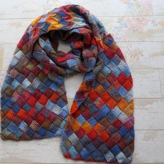Большой вязаный шарф. Шерстяной шарф, подарок на Новый год