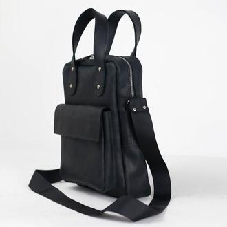 """Мужская сумка """"Модель №41"""" Винтажная кожа цвет Черный"""
