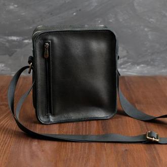 """Мужская сумка """"Модель №43"""" кожа Краст цвет Черный"""