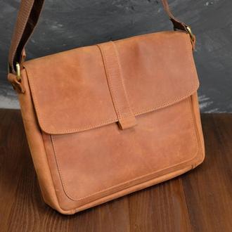 Мужская сумка Модель №53, Винтажная кожа цвет Коньяк