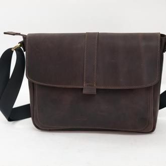 Мужская сумка Модель №53, Винтажная кожа цвет Шоколад