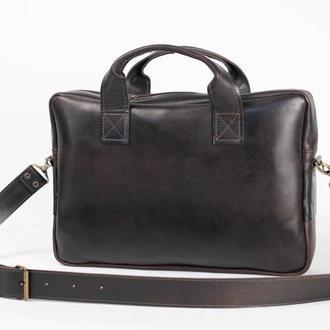 """Чоловіча сумка """"Модель №54"""" шкіра Краст колір Кави"""