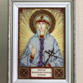 Икона вышитая бисером в багете Святая Великомученица Агафья