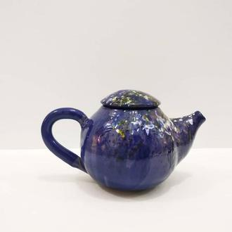 Чайник синий с радужными брызрами