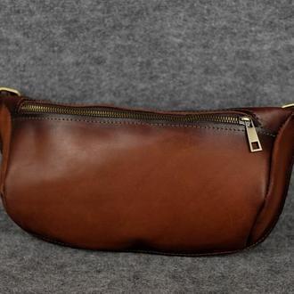 """Кожаная сумка """"Модель №56 мини"""" Кожа Итальянский краст цвет коричневый"""