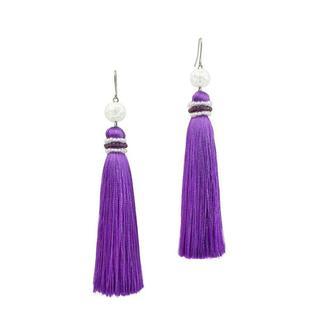 Фиолетовые серьги-кисти с горным хрусталем