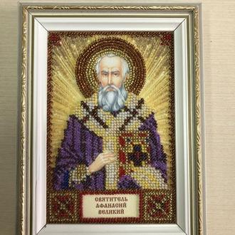Икона вышитая бисером в багете Святитель Афанасий Великий