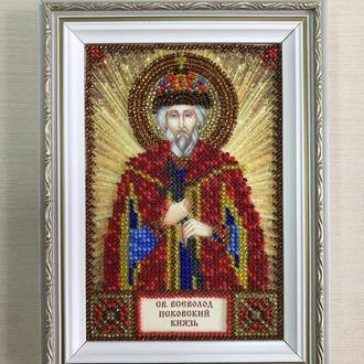 Икона вышитая бисером в багете Святой Всеволод Псковский Князь