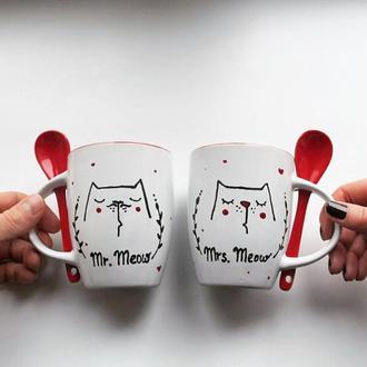 Чашки парочка, ручная роспись