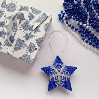 Новогодние игрушки Звезда Снежинки из бисера