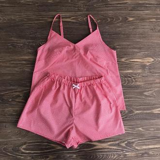 Красная женская пижама из хлопка в клеточку