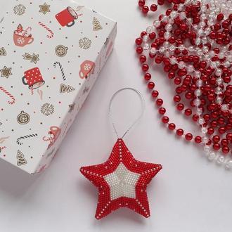Новогодние игрушки Звезда красная из бисера