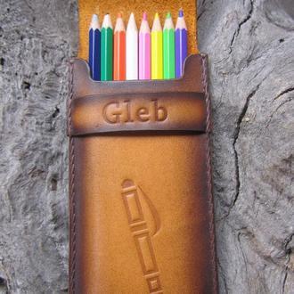 чехол для карандашей,подарок учителю,подарок девушке,карандашницы кожаные