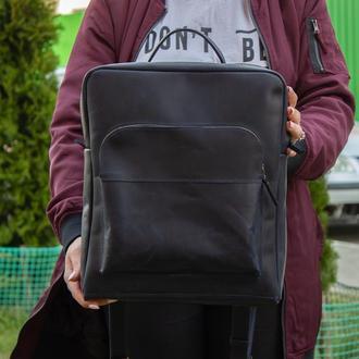 Кожаный рюкзак на молнии синий