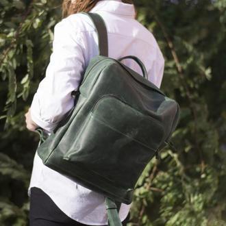 Кожаный зеленый рюкзак на молнии