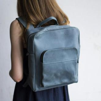 Кожаный голубой рюкзак мужской