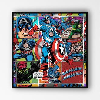 "Постер на ПВХ 3 мм. в рамке ""Капитан Америка"" (Captain America)"