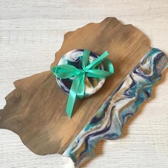 Доска для подачи блюд + подставки с заливкой Resin Art (эпоксидная смола)