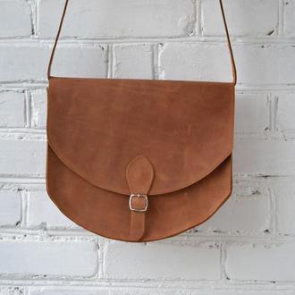 """Женская сумка седло из натуральной кожи Crazy horse (Camel) """"010"""""""