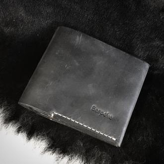 """Небольшой кожаный кошелек """"Staff"""" / Мужской кошелек /Компактный кошелек темно синего цвета"""