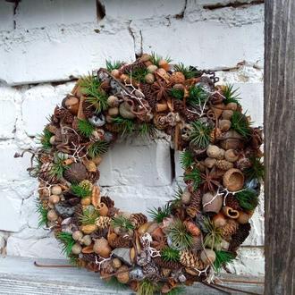 Новогодний венок на дверь, интерьерний венок, рождественский венок