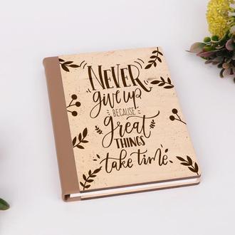 Деревянный блокнот с гравировкой, записная книжка, скетчбук