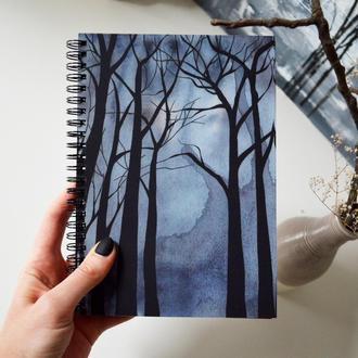 Блокнот А5 с черными страницами и белая ручка. Авторская иллюстрация Мистический лес. 90 листов.