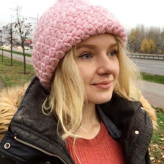 Шапка женская тёплая розовая