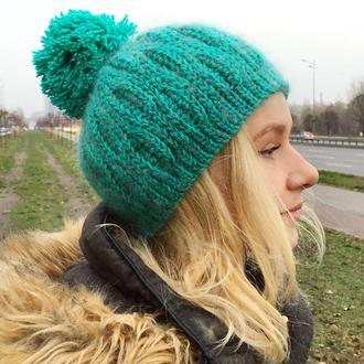 Шапка женская тёплая зеленая