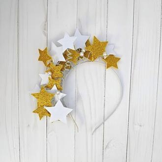 Ободок на утренник со звёздами Костюм Ночи Звёздочки на Новый год Золотой обруч для девочки