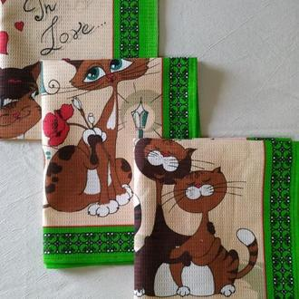 Вафельные полотенца Влюбленные коты