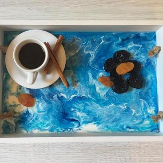 Деревянный поднос с заливкой Resin Art (Эпоксидная смола)