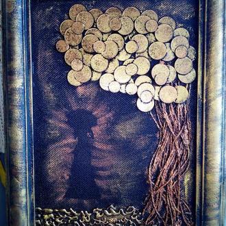 Картина из монет дама с зонтиком