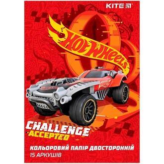 Бумага цветная детская А4 двухсторонняя KITE мод 250 Hot Wheels HW19-250