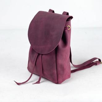 Рюкзак на затягуваннях з вільним клапаном, Вінтажна шкіра колір Бордо