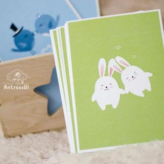 """Листівка """"Закохані кролики"""""""
